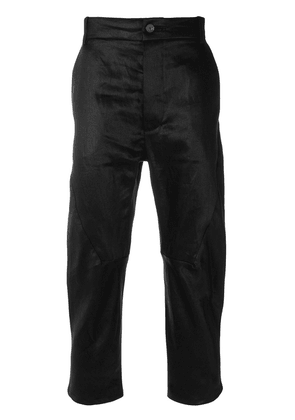 Cedric Jacquemyn cropped waxed trousers - Black