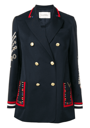 Valentino embroidered double breasted blazer - Blue