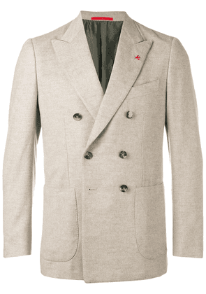 Isaia classic double-breasted blazer - Neutrals