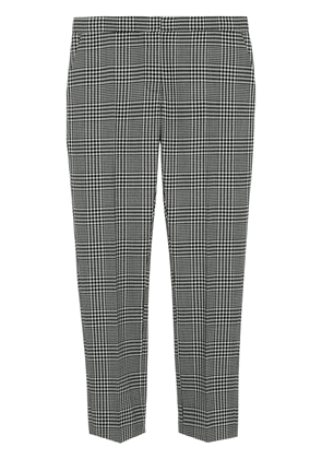 Burberry Straight Fit Prince of Wales Check Wool Trousers - Black