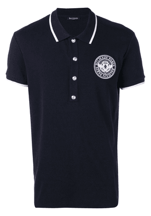 Balmain chest logo polo shirt - Blue