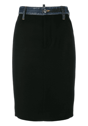 Dsquared2 denim trim pencil skirt - Black