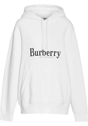 9c32cc41a79bd Burberry Embroidered Logo Jersey Hoodie - White