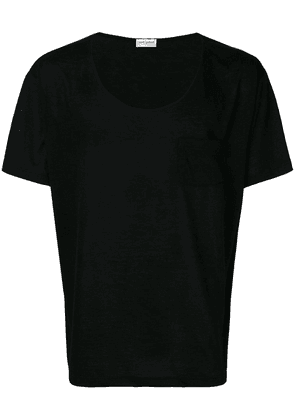 Saint Laurent U neck T-shirt - Black