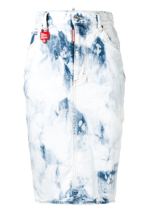 Dsquared2 acid wash denim pencil skirt - White