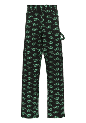 Ashley Williams rose print trousers - Black