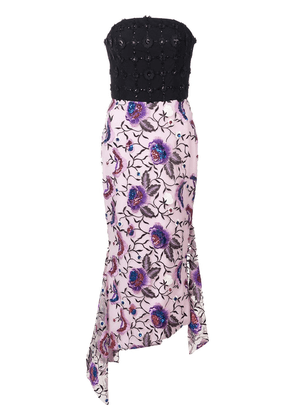 Christian Siriano embroidered floral strapless dress - Black