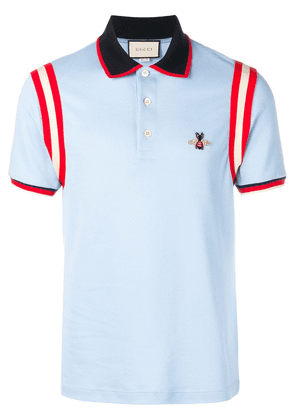 Gucci bee appliqué polo shirt - Blue