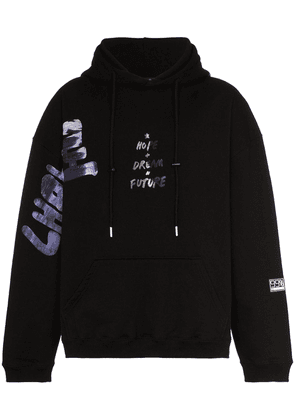 99% Is CSTM painted cotton hoodie - Black