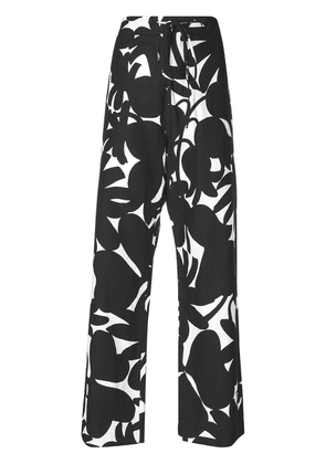 Marni floral flared trousers - Black