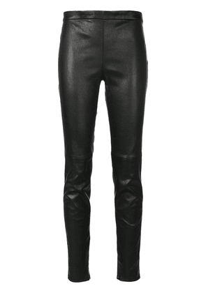 Saint Laurent mid waist leather leggings - Black