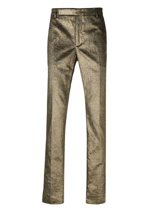 Saint Laurent metallic tailored trousers - Gold