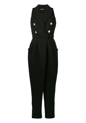 Balmain sleeveless double breasted jumpsuit - Black