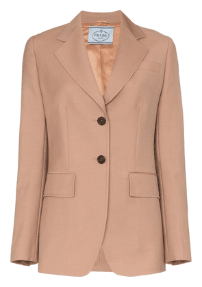 Prada fitted wool button sleeves blazer - Neutrals