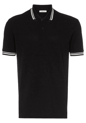 Valentino Garavani debossed logo stamp cotton polo shirt - Black