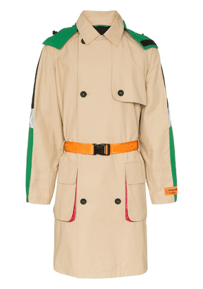 Heron Preston hooded waist belt trench coat - Neutrals