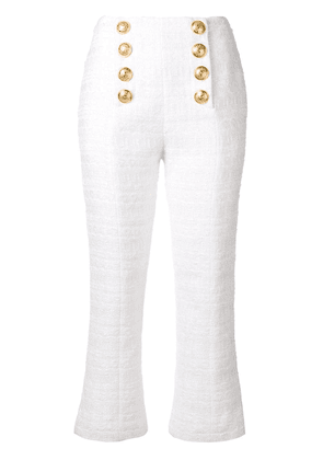 Balmain textured tweed cropped trousers - White