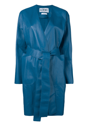 Loewe belted leather coat - Blue