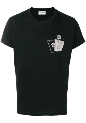 Saint Laurent pistol rose T-shirt - Black