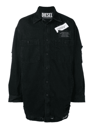Diesel distressed shirt with patches - Black