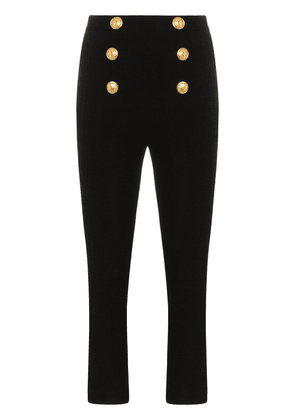 Balmain high waist button detail cropped flares - Black