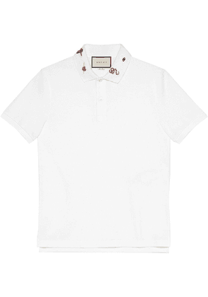 Gucci Embroidered cotton polo - White