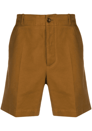Gucci logo embroidered chino shorts - Brown