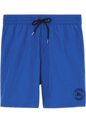 Burberry Embroidered Logo Drawcord Swim Shorts - Blue