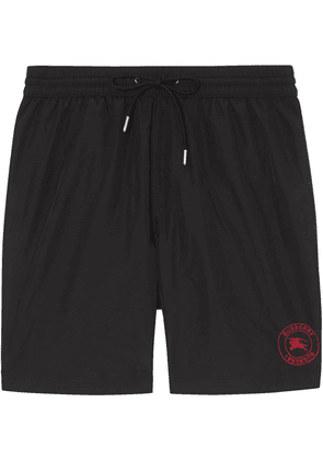Burberry Embroidered Logo Drawcord Swim Shorts - Black