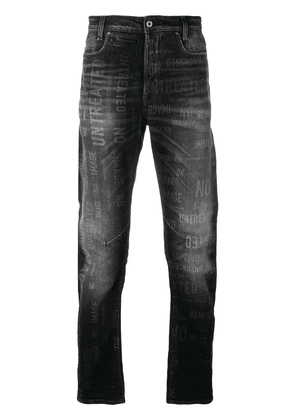 G-Star Raw Research stonewashed slogan print jeans - Black