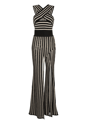 Balmain striped cross strap wide leg jumpsuit - Black