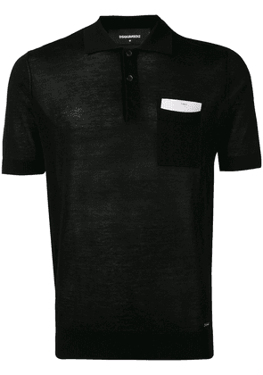 Dsquared2 knitted style polo shirt - Black