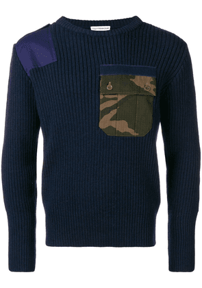 GOSHA RUBCHINSKIY camo pocket ribbed sweater - Blue