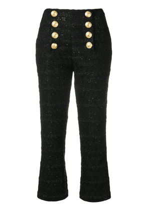 Balmain decorative buttons cropped trousers - Black