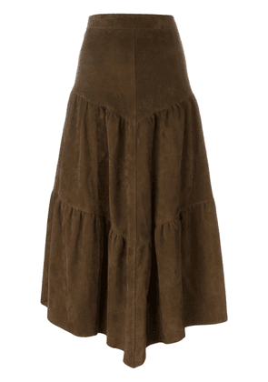Saint Laurent long frill skirt - Brown