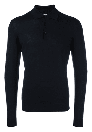 Fashion Clinic Timeless long sleeved knitted polo shirt - Blue
