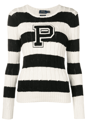 Polo Ralph Lauren striped cable knit sweater - White