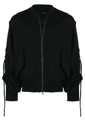 Ann Demeulemeester zipped gathered sleeve sweatshirt - Black