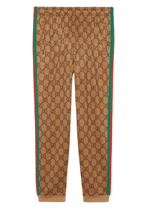 Gucci GG Supreme print cotton blend sweat pants - Brown