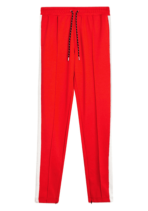 Burberry Sport Stripe Cotton Blend Drawcord Trousers - Red