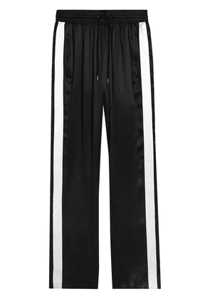Burberry Stripe Detail Silk Satin Tailored Track Pants - Black