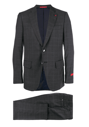 Isaia checked two-piece suit - Grey