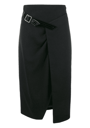 Givenchy wool cross-over mid-length skirt - Black