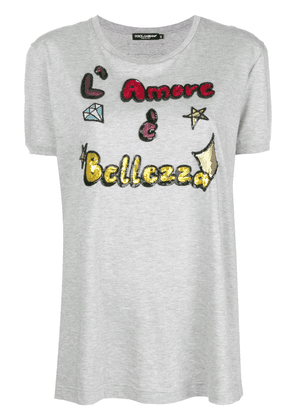 Dolce & Gabbana sequin slogan T-shirt - Grey