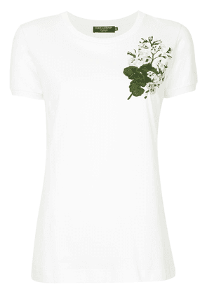 Dolce & Gabbana white geranium embroidered T-shirt