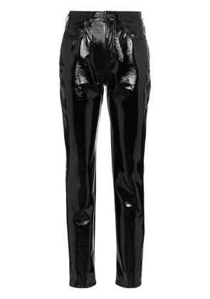Saint Laurent mid-rise slim fit vinyl trousers - Black