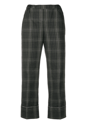 No21 checked print cropped trousers - Green
