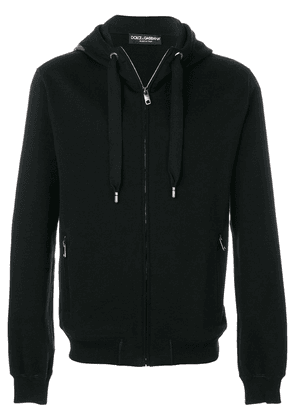 Dolce & Gabbana zipped hoodie with logo patch - Black
