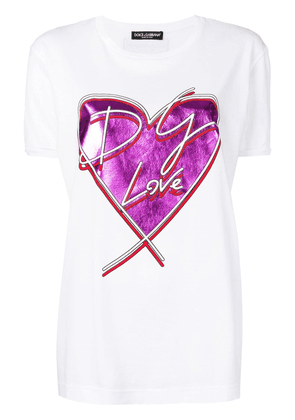 Dolce & Gabbana metallic heart print T-shirt - White
