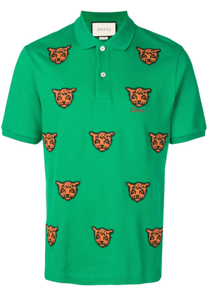 Gucci embroidered tiger polo shirt - Green